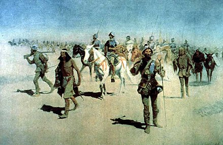 """Vazquez de Coronado Sets Out to the North"" (1540), by Frederic Remington, oil on canvas, 1905 Coronado-Remington.jpg"
