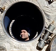 Cosmonaut Polyakov Watches Discovery's Rendezvous With Mir crop