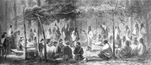 Medicine Lodge Treaty - Council at Medicine Lodge Creek, drawing from Harper's Weekly