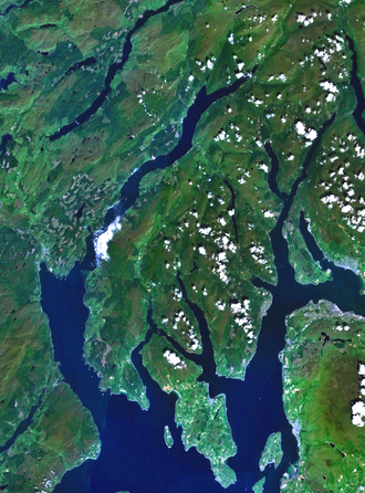 Comgall mac Domangairt - NASA Landsat image of the Cowal peninsula and the isle of Bute. Parts of Kintyre and Knapdale, the lands of the Cenél nGabráin, can be seen on the left side; the lands of the Cenél Loairn lie beyond the top left corner of the image; Dumbarton Rock, chief place of the kingdom of Alt Clut, lies further up the river Clyde seen in the middle right.