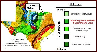 Geology of the Dallas–Fort Worth Metroplex - Cretaceous formations of Texas