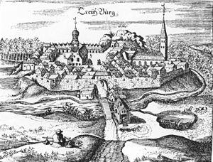 Slavskoye, Russia - A 1684 depiction of the town, known then as Kreuzburg