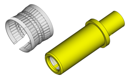 Typical Crown Spring Connector inserted into the female plug. Crown Spring Render.png