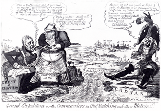 Sir William Curtis, 1st Baronet - Sir William Curtis (centre) in an 1809 caricature on the Walcheren Expedition, between military commanders John Pitt, 2nd Earl of Chatham and Marshal Bernadotte