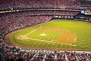 2000 Major League Baseball season - The season's eventual National League Central Division champions St. Louis Cardinals playing host to the Chicago Cubs during a September 2000 game at Busch Memorial Stadium.