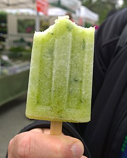 Cucumber, elderflower and mint ice pop from Nicepops (18159920902).jpg