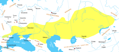 Cuman-Kipchak confederation in Eurasia circa 1200. The Kazakhs are descendants of Kipchaks, Nogais and other Turkic and medieval Mongol tribes Cumania (1200) eng.png