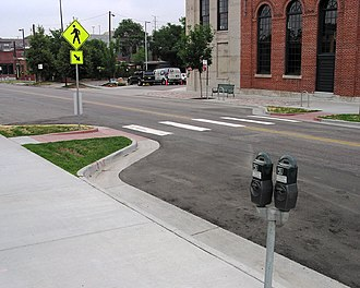 Traffic calming - Image: Curb extensions at midblock crosswalk