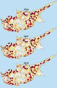 Distribution of Turkish Cypriots (1891, 1911, 1931)
