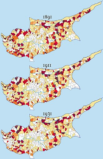 Demographics of Cyprus - Image: Cyprus distribution 1891 1931