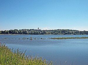 Döllnitzsee with Hubertusburg Castle