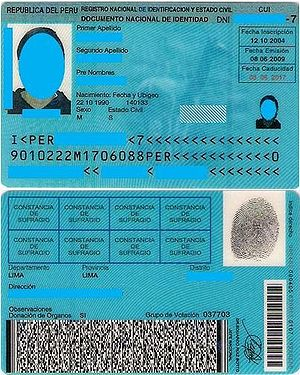 Peruvian National Document of Identity (DNI)