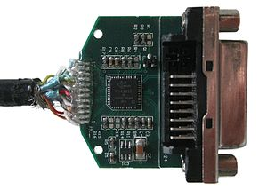 DisplayPort - Picture of a DisplayPort to DVI adapter after removing its enclosure. The chip on the board converts the voltage levels generated by the dual-mode DisplayPort device to be compatible with a DVI monitor.