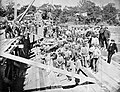 Dam workers construct the first or second Holyoke Dam c1849.jpg