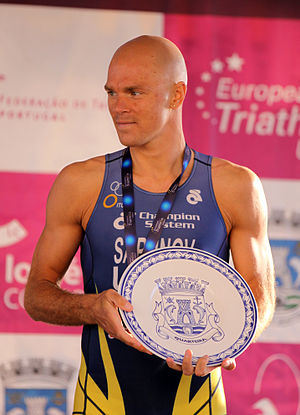 Danylo Sapunov - Sapunov with the bronze medal at the European Cup triathlon in Quarteira, 2011.