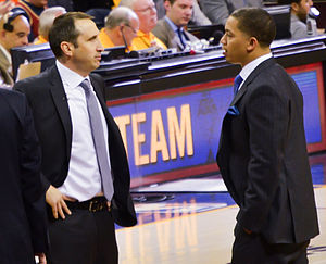 Cavaliers–Warriors rivalry - The 2015–16 Cleveland Cavaliers season saw the firing of head coach David Blatt (left), who would be replaced by assistant coach Tyronn Lue (right).