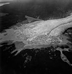 Davidson Glacier, valley glacier terminus with icebergs in the lake, August 23, 1964 (GLACIERS 5218).jpg