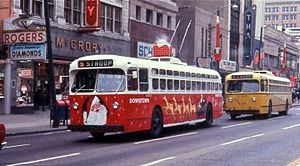 Trolleybuses in Dayton - The Dayton Christmas Trolley, a seasonal tradition begun by CT in the 1960s and continued by RTA into the 1980s