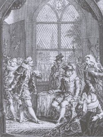 Siege of Haarlem - Scene of a play by Juliana de Lannoy, published in 1770. The moment when Amelia, Kenau's daughter, mourns for her husband Wigbolt Ripperda (in coffin) while Kenau who is angry, scolds the Duke of Alba, who has entered the room to take Pieter Hasselaer (seated) into custody.