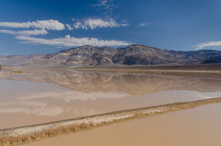 View on Panamint Butt / Panamint Valley from SR190 (at the end of Death Valley) with flash floods and reflections in the water.