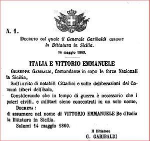Dictatorship of Garibaldi - The dictatorial decree