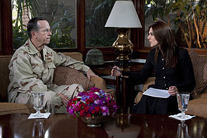 Defense.gov News Photo 110420-N-TT977-103 - Chairman of the Joint Chiefs of Staff Adm. Mike Mullen U.S. Navy is interviewed by Pakistani Geo News correspondent Sanna Bucha in Islamabad.jpg
