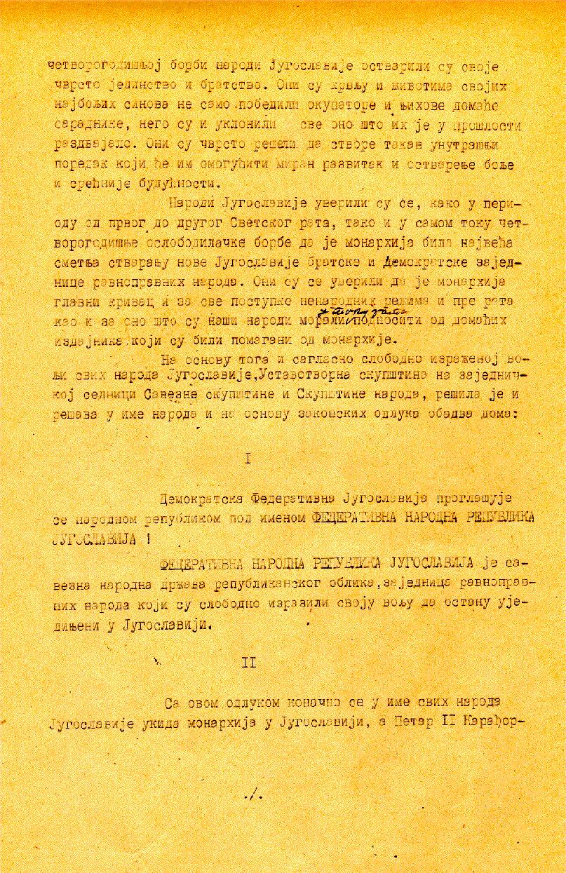Deklaracija o proglašenju Federativne Narodne Republike Jugoslavije (p 2-3)