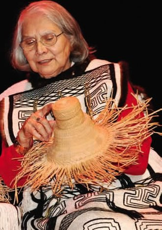 Edge of the Knife - Delores Churchill, a Haida weaver, in 2006. She helped translate the Edge of the Knife script into the two dialects of Haida.