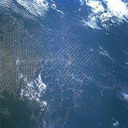 Imagem de áreas desmatadas em Ariquemes, Rondônia.