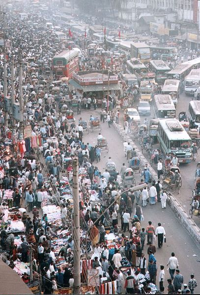 Overcrowded streets in Dhaka