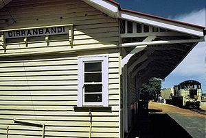 South Western railway line, Queensland - Dirranbandi station with 1721 on the Dirranbandi Mail bound for Toowoomba in November 1987
