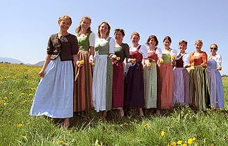 Dirndl - Different colour variations may depend on the origin of the woman wearing a dirndl
