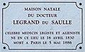 Dijon plaque commémorative docteur LEGRAND du SAULE.jpg