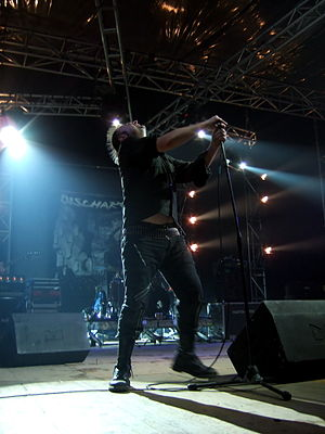 Discharge (band) - Discharge performing in Rome in 2006. The distinctive lettering of the band's name can be seen in the banner at the back of the stage.