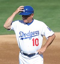 Dodgers coach Larry Bowa wearing a batting helmet, spring training 2008.jpg