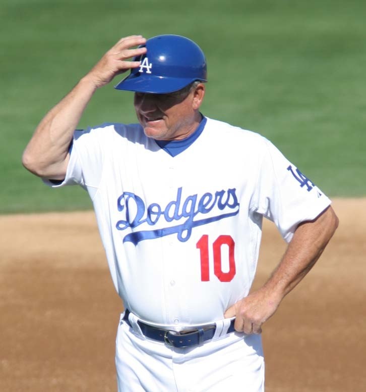 Dodgers coach Larry Bowa wearing a batting helmet, spring training 2008