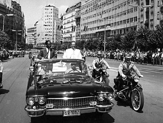 Kwame Nkrumah - Arrival of the president of Ghana, Kwame Nkrumah, and president of Yugoslavia, Josip Broz Tito, to the Non-aligned movement conference, Belgrade, 1961.