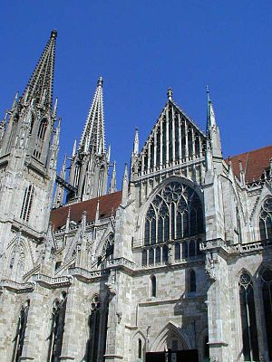 Regensburg Cathedral - Cathedral of St. Peter, south facade (before the towers were cleaned in 2005).
