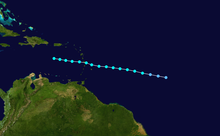 A track of a tropical storm, it starts near Cape Verde, crosses Martinique and dissipates in the Caribbean Sea