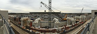 Dulles International Airport station - Panoramic view of construction in December 2016