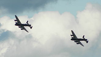 Avro Lancaster PA474 - PA474 with the CWH Lancaster FM213 in 2014