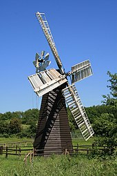A photograph of the Eastbridge Windpump after being re-erected at the Museum of East Anglian Life, Stowmarket