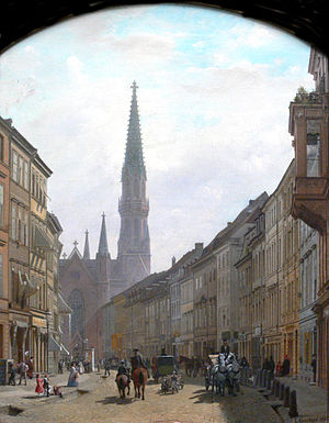 Joseph Benda - Cölln: Brüderstraße and Petrikirche in the 19th century, by Eduard Gaertner