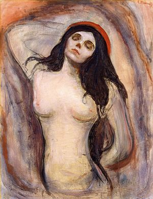 Madonna (Munch painting) - Version from Kunsthalle Hamburg, Hamburg. 1895. 90 × 71 cm (35.4 × 28 in)
