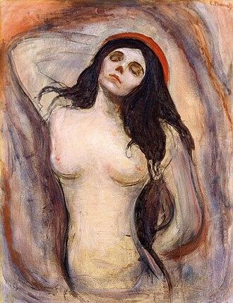 Madonna (Munch painting) - Version from Kunsthalle Hamburg, Hamburg. 1895. 90 × 71 cm (35.4 × 28 in)