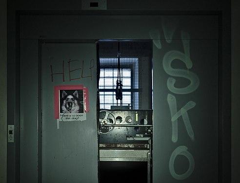 Elevator stopped between floors with door forced open in Sanatorium du Basil, Stoumont, Belgium (DSCF3611).jpg