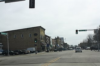 Elkhorn, Wisconsin - Looking south in downtown Elkhorn