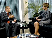 The finance minister, Guido Mantega, and the president of the Supreme Federal Tribunal, Ellen Gracie Northfleet.