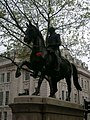 Equestrian statue of King George III with a heart on his horse. The statue went through a phase of people embellishing it, often referencing events in the king's life.jpg