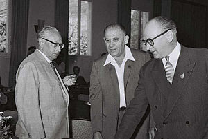Guy Mollet - Guy Mollet at a Socialist International meeting in Haifa in 1960, with Erich Ollenhauer (L)